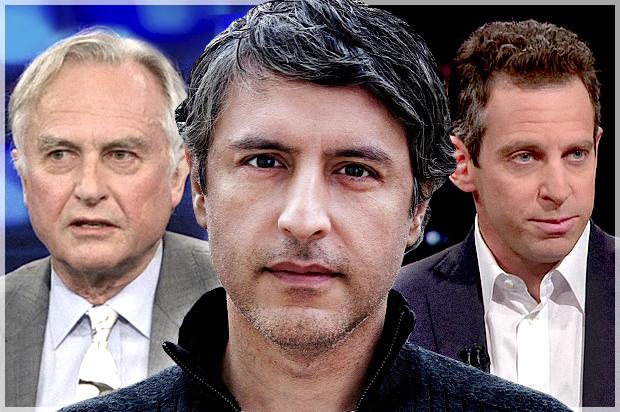 Richard Dawkins, Reza Aslan, Sam Harris (Credit: Comedy Central/Malin Fezehai/HBO/Photo montage by Salon)